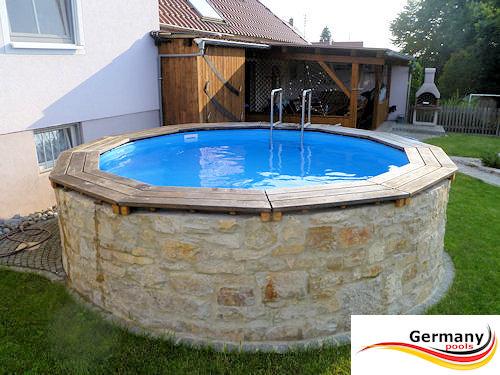 Stahlwandpool teilversenkt  Pool-Gestaltung | Pool-Bilder | Schwimmbad-Gestaltung | Germany-Pools