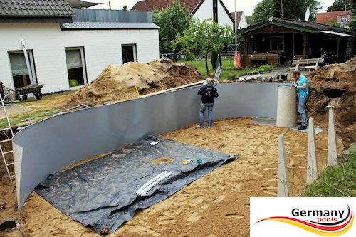 Schwimmbecken aufbauanleitung swimmingpool montage for Folienauskleidung pool